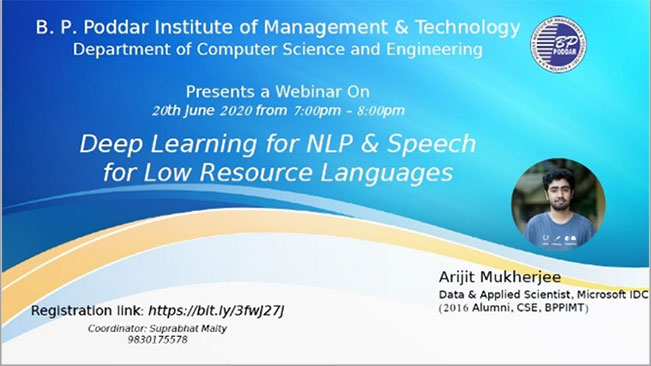 Webinar on Deep Learning in NLP and Speech for Low resource language, 20th June, 2020
