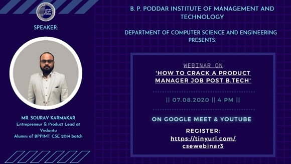 Webinar on How to Crack a Product Manager Job Post B.Tech., 7th August, 2020