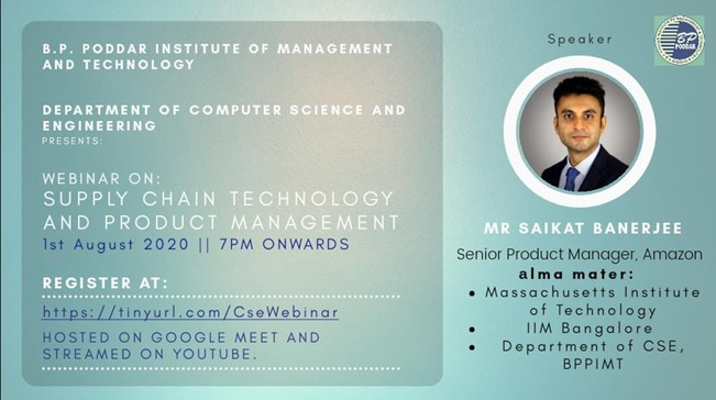 Webinar on Supply Chain Technology and Product Management, 1st August, 2020