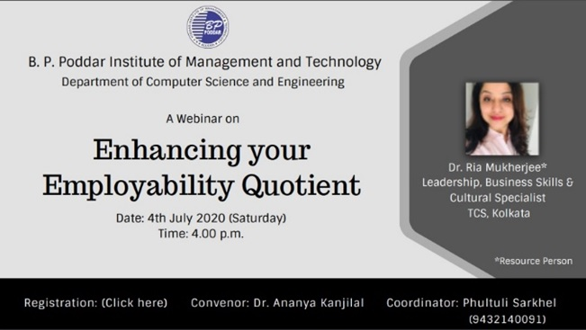 Webinar on Enhancing your Employability Quotient, 4th June, 2020
